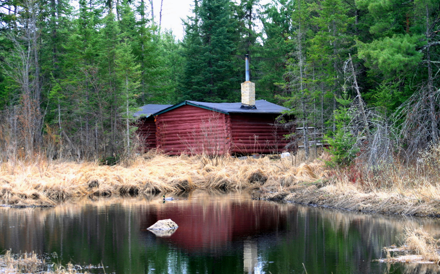 reflection of old hunting cabin in pond author p pluskwik paul