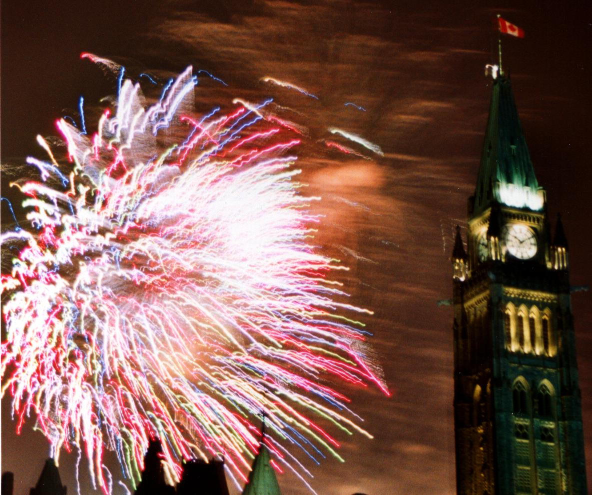 double exposure of fireworks at canada day author laverdiere marc andre