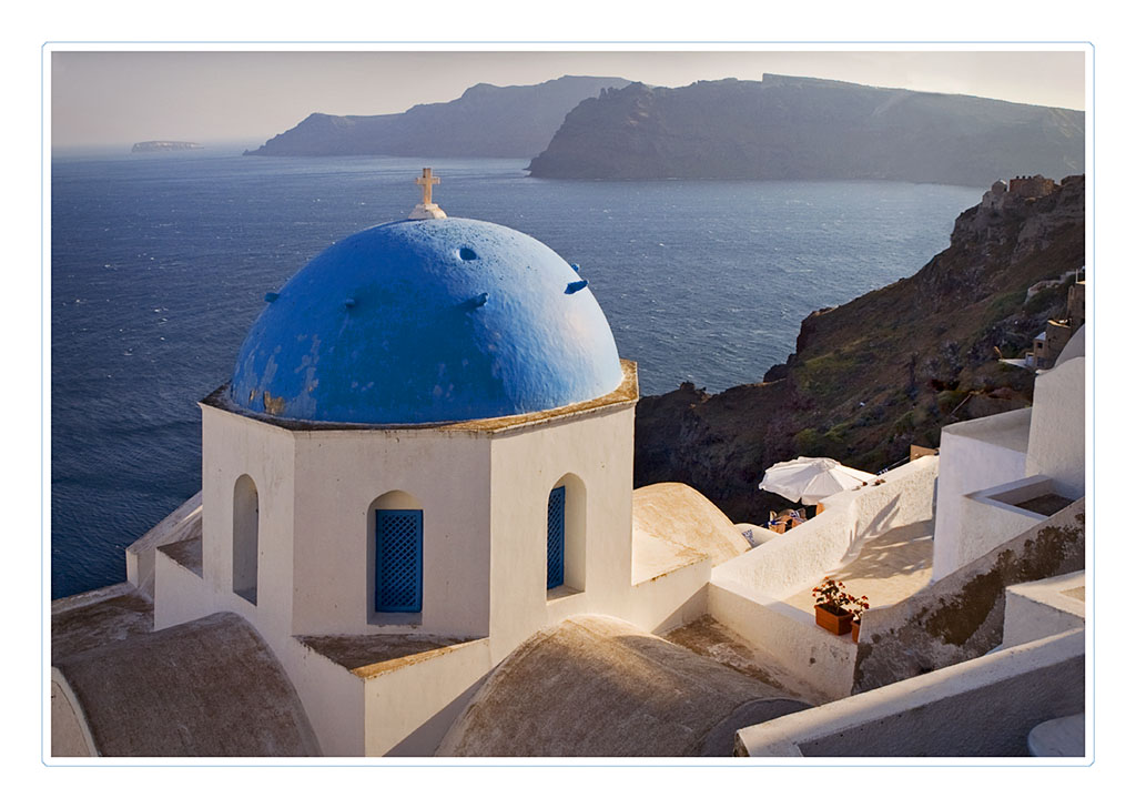late afternoon sun at oia author funke stephan