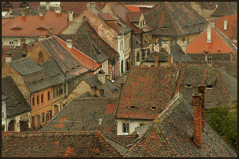 saxon hapsburg eras rooftops in sibiu romania aut downs jim