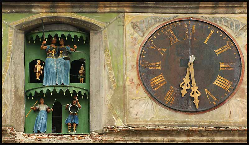 clock tower detail at sighisoara romania author d downs jim